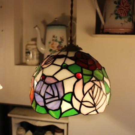 ■ステンドグラス ペンダントランプ メローローズ 【アンティーク照明】【LED電球対応】【アリスの時間】★