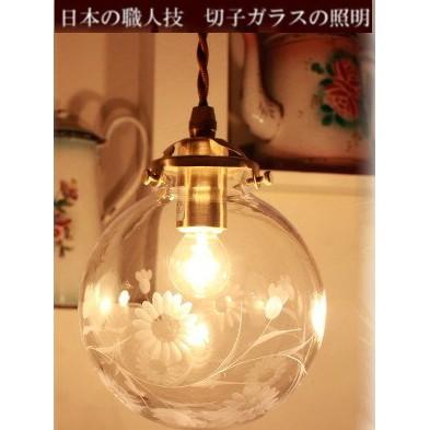 ■日本の職人ランプシェード 切子 菊 (シェード+灯具)【日本製アンティーク照明】 【アリスの時間】★