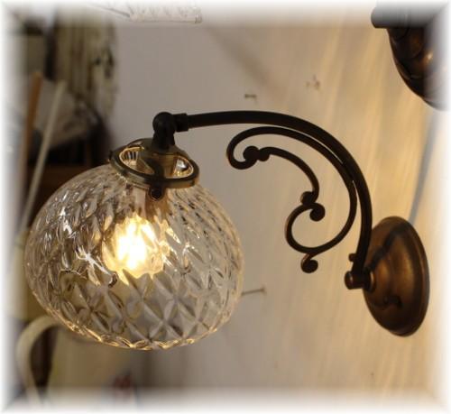 ■日本の職人ランプシェード クロスモールドームウォールランプ (シェード+灯具)【日本製アンティーク照明】 【アリスの時間】★