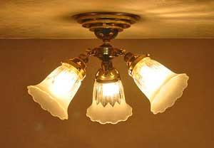 ■【アンティーク照明】FC-D700G 1821 (3灯シーリングランプ) 【アリスの時間】★