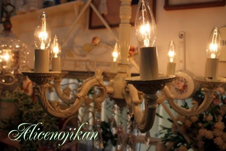 ■ 【アンティーク照明】シャンデリアアンティークホワイトキャンドル6灯 【アリスの時間】★