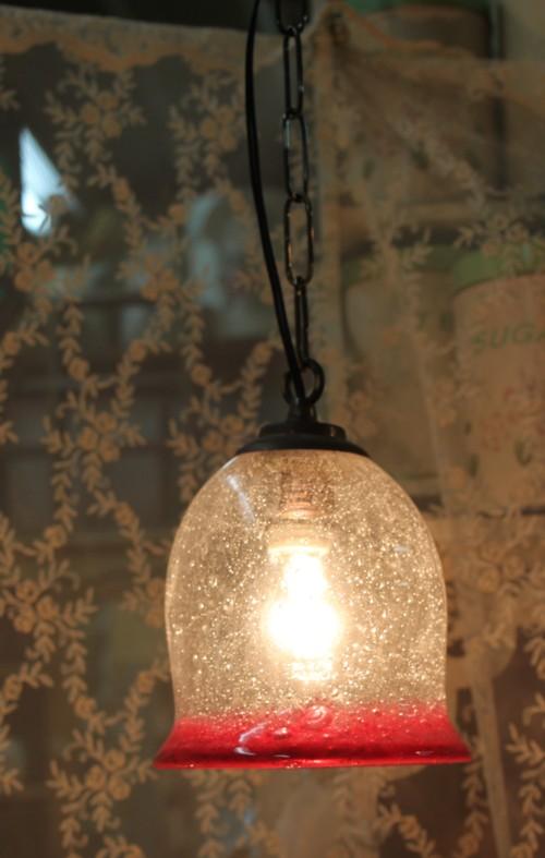 ■【アンティーク照明】気泡吹きガラスセット ベル型(シェード&灯具) 【アリスの時間】★