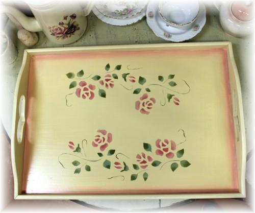 ■薔薇とピンクのぼかしがロマンティック トレー バラ 格安 価格でご提供いたします ばらのお盆 安心の実績 高価 買取 強化中 キッチン セゾンドローズ アイボリー Lサイズ 木製トレー