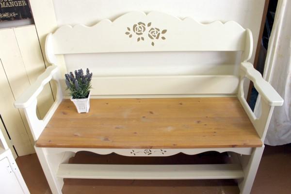 ■薔薇のカッティングの カントリーベンチ 現品特価【家具フェア】★
