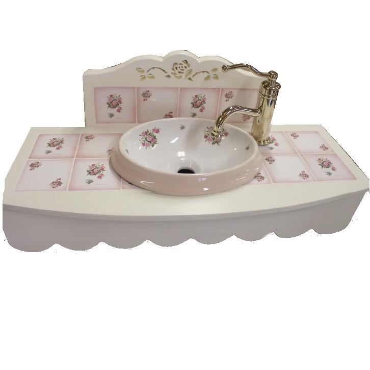 ■【別注】薔薇のタイルの 上置き型洗面台トップ カーブデザイン 上置き型 オープンタイプ【アリスの時間】★