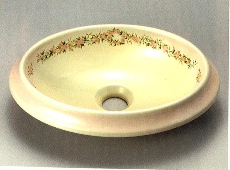 ■PE1000-38 レ ローズ 陶器製 ウォツシュボウル楕円S 【アリスの時間】★