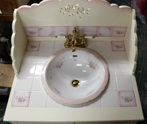 ■ キャサリンローズ タイルと 薔薇の扉のロマンティック洗面台 75cm(タイル施工込) 【アリスの時間】★