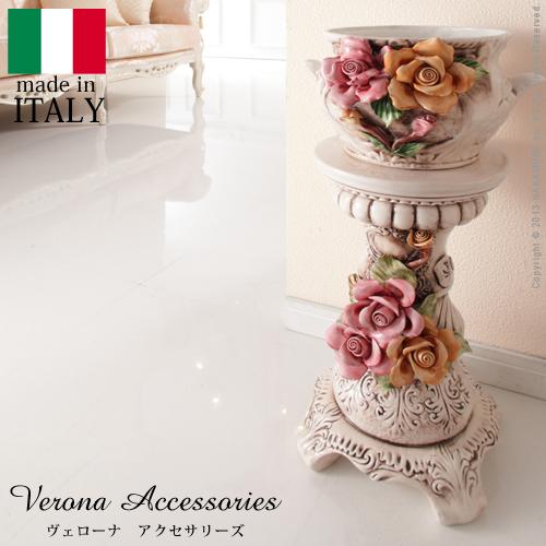 ヴェローナアクセサリーズ 陶製コラムポット イタリア 家具 ヨーロピアン アンティーク風★