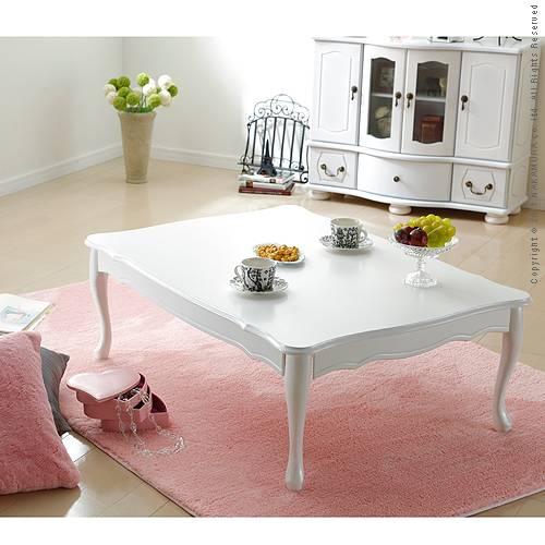 折れ脚式猫脚テーブル Lisana〔リサナ〕 105×75cm テーブル ローテーブル 姫系 家具★