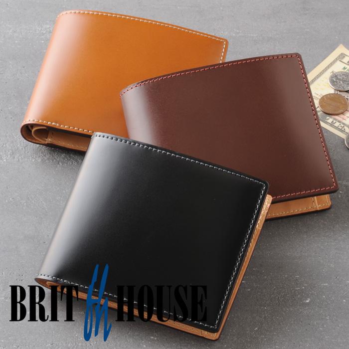 ブリットハウス コードバン二つ折り財布 Brit house 馬革 牛革 本革 天然素材 レザーウォレット 小銭入れ付き 日本製