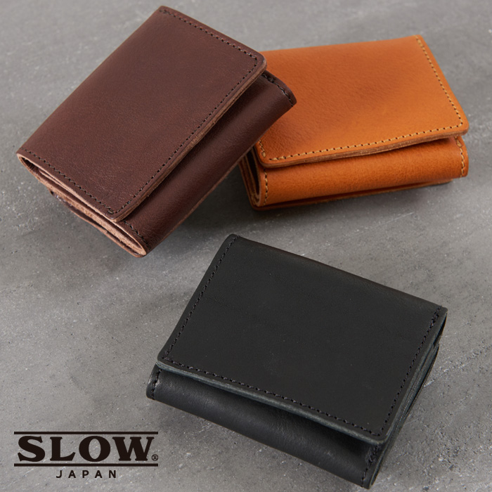 スロウ SLOW ボーノ bono コインケース 三つ折り財布 mini wallet 牛革 ヌメ革 レザー スナップボタン ギフト プレゼント 贈り物 メンズ レディース