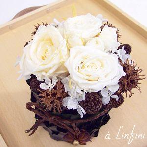 【プリザーブドフラワー 白いバラ】 【フレンチStyle】咲き続ける白い薔薇&チョコレート色ナッツアレンジ・プリザーブドフラワー 送料無料