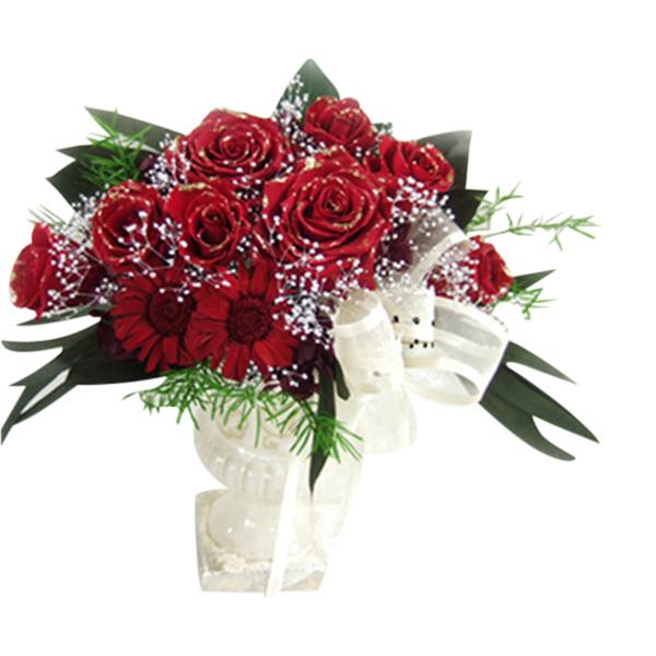 送料無料■[プリザーブドフラワー オールプリザ 贈答用ギフト お祝い 花束] 【ブリザーブドフラワー】三日月型ラインがエレンガント クレセント 豪華なバラのコンポートアレンジメント『真紅のクレッシェント』薔薇とガーベラ・プリザーブドフラワー