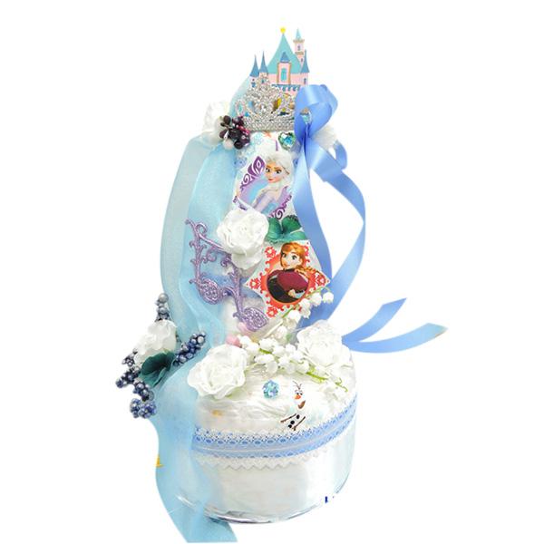 【アナと雪の女王 ケーキ】ディズニーアナと雪の女王おむつケーキ!アナ雪 女の子赤ちゃん出産祝い 大型3段限定デザイン 送料無料【オムツケーキ ギフト】【楽ギフ_メッセ】