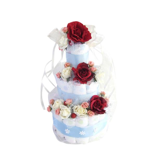 送料無料 おむつケーキ オムツケーキ 出産祝い ギフト 大好評です SASSYサッシー セール 出産祝いにアメリカ発 ローズシャワー SMTB 赤バラが咲き誇るエレガントなオムツケーキ 出産御祝いギフト 3段のブルーリボンが大人気