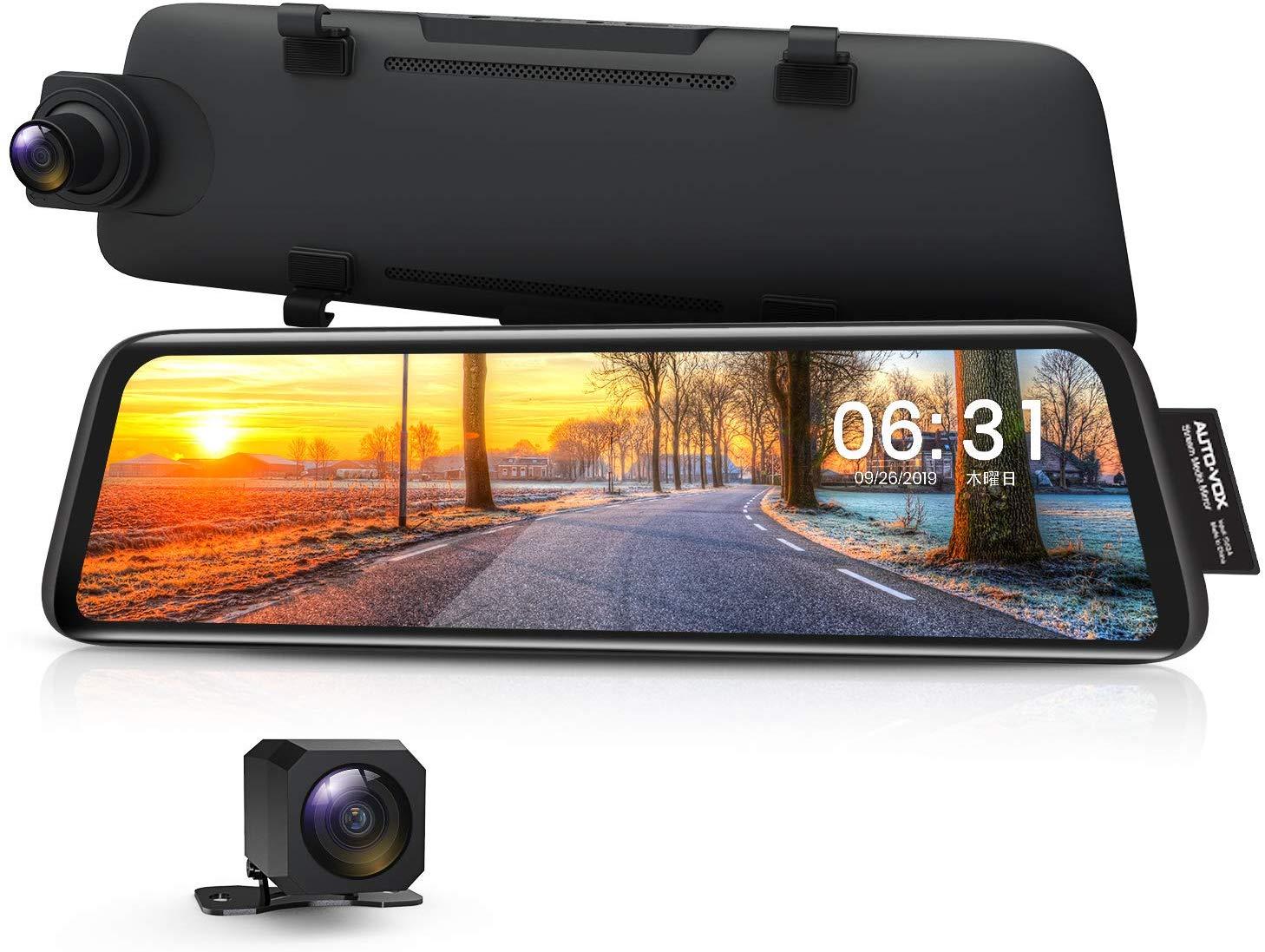 ドライブレコーダー 前後カメラ 前後1080P 右ハンドル仕様 ノイズ対策 デジタルインナーミラー 駐車監視 GPS タッチパネル 2分割画面 2重映像対策 光の反射対策 Sonyセンサー AUTO-VOX V5