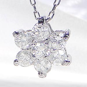 K18WG ダイヤモンド フラワー ネックレス18金 k18 ホワイトゴールド ゴールド ダイヤペンダント 手数料無料 送料無料 品質保証書 お花 フラワー レディース ジュエリー ギフト プレゼント 人気 可愛い 4月誕生石 ダイアペンダント