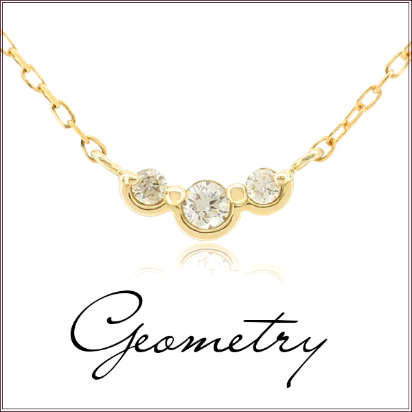 K10 K18 天然ダイヤモンド ジオメトリー ゴールド ネックレス 幾何学 レディース ゴールドアクセサリー ライン 女性 プレゼント 誕生日 記念日 ギフトBOX ジュエリー ベーシックジュエリー