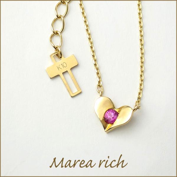 Marea rich K10 ゴールド プレートハート ルビー ネックレス アリゼ マレアリッチ 公式 オフィシャル ブランド ジュエリー レディース 10金 ペンダント ギフト プレゼント 7月 誕生石