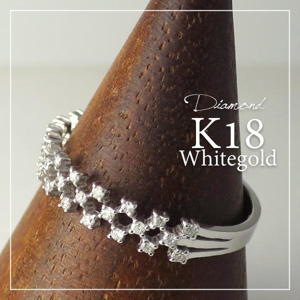 K18 ホワイトゴールド 天然 ダイヤモンド ジオメトリー リング 5号~13号 18金 18k k18ゴールド レディース 女性 ゴールド 天然ダイヤ ダイヤ ホワイト 幾何学 指輪 プレゼント 誕生日 記念日 ギフトBOX ジュエリー