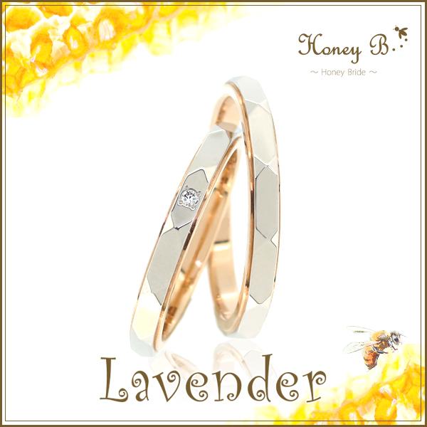 ドラマ着用 結婚指輪 刻印無料 ペアリングHoney B-ハニーブライド- Lavender ハニーブライダルコレクション PG Pt900 天然ダイヤモンド ピンクゴールド プラチナ900 マリッジリング レディース5号~15号 メンズ12号~22号 記念日 ブライダル