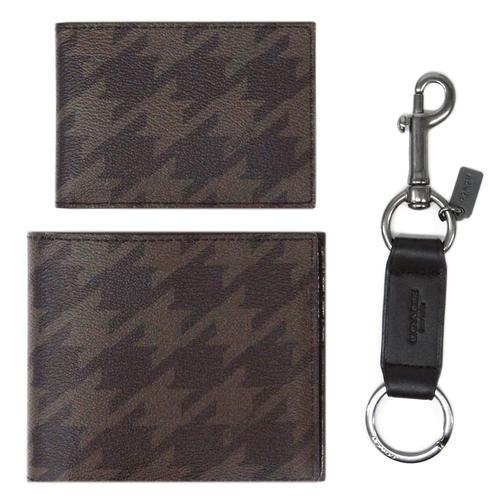 コーチ F37885-QBGRM 財布 メンズ 二つ折り 札入れ 取り外しカードケース コンパクト ID ウォレット キーリング付き グレーマルチ アウトレット COACH
