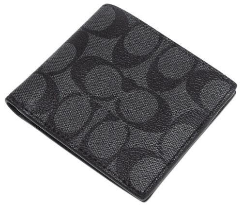 コーチ F66551-QBMI5 財布 メンズ 二つ折り 札入れ ID ビルフォールド ウォレット シグネチャー キャンバス チャコール/ブラック アウトレット COACH