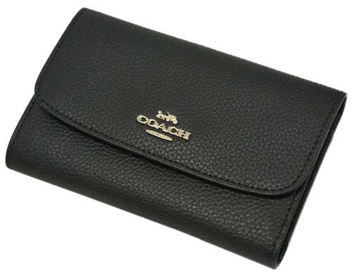 コーチ F30204-IMBLK 財布 三つ折り財布 ミディアム エンべロープ ウォレット カーフレザー ブラック アウトレット COACH