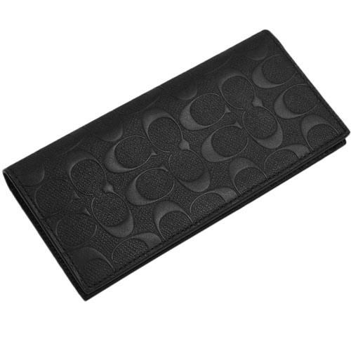 コーチ F75365-BLK 財布 メンズ ファスナー長札 ブレスト ポケット ウォレット シグネチャー クロスグレインレザー ブラック アウトレット COACH