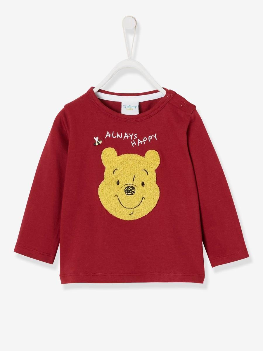 Disney Winnie the poo san 高級服 お誕生日 クリスマス プレゼント ラッピング 即納 対応 送料無料 ドイツ 綿100% 86cm ディズニー 至高 日時指定 16ヶ月から21ヶ月 限定 ベビーシャツ ワインレッド ok くまのプーさん