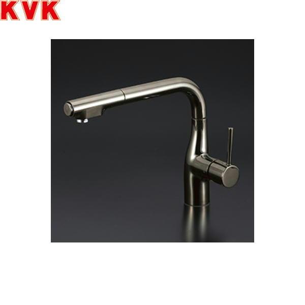 [KM6101ECBN]KVK流し台用シングルレバー式シャワー付混合水栓[一般地仕様][黒ニッケルめっき]【送料無料】