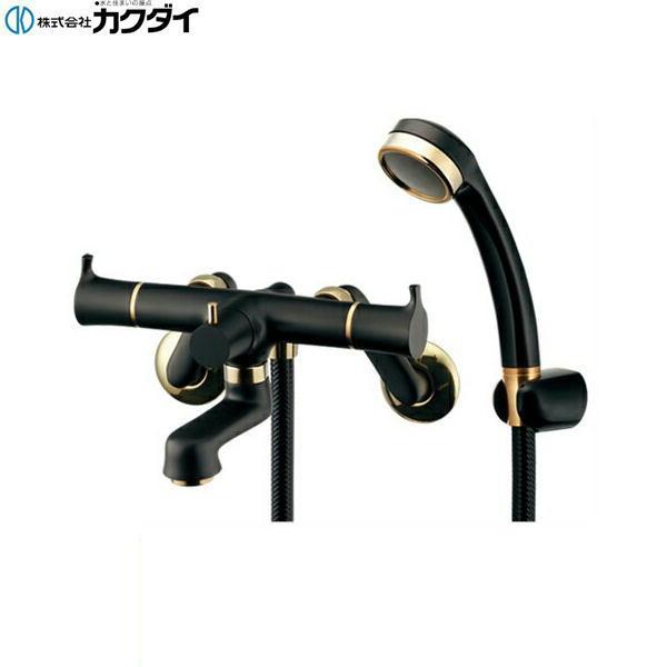 [139-022]カクダイ[KAKUDAI]2ハンドルシャワー混合栓[一般地仕様][一時止水・マットブラック]【送料無料】