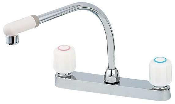 カクダイ[KAKUDAI]キッチン用水栓2ハンドル混合栓151-005[一般地仕様][送料無料]