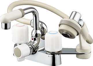 カクダイ[KAKUDAI]洗面所用水栓2ハンドル混合栓(シャワつき)1521S[一般地仕様]【送料無料】