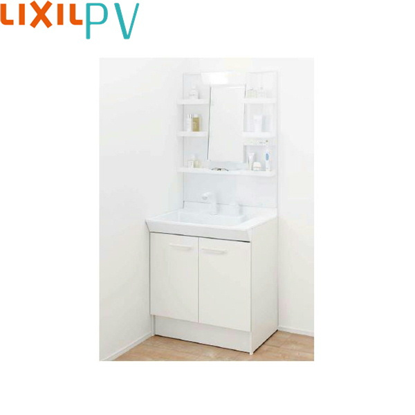 [PV1N-755SY/VP1H+MPV1-751YJU]リクシル[LIXIL/INAX][PV]洗面化粧台セット1[間口750mm]シングル洗髪シャワー[吐水切替付]1面鏡LEDくもり止め[送料無料]