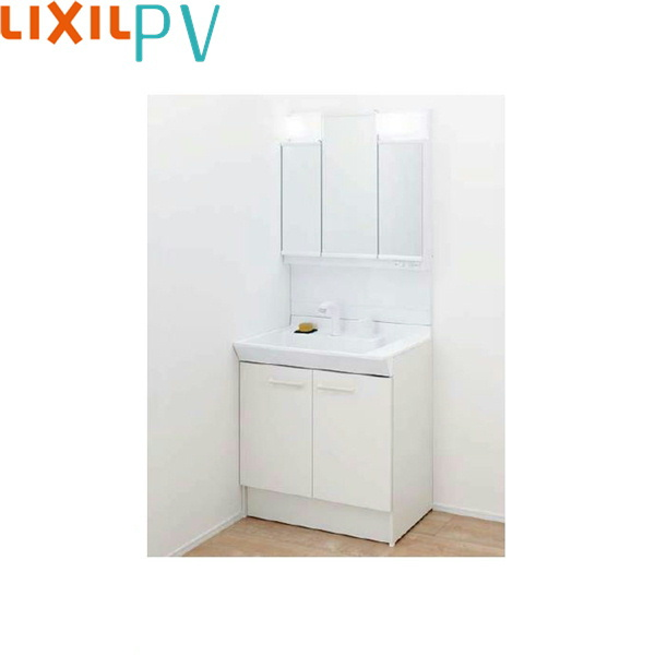 [PV1N-755SY/VP1H+MPV1-753TXJU]リクシル[LIXIL/INAX][PV]洗面化粧台セット3[間口750mm]シングル洗髪シャワー[吐水切替付]3面鏡LEDくもり止め[送料無料]