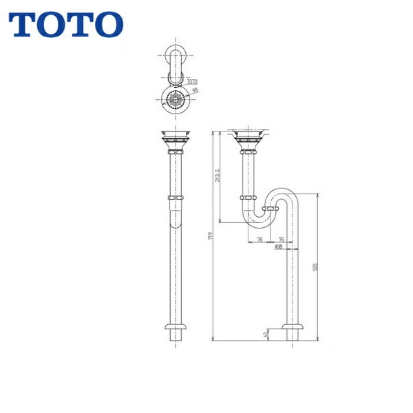 TOTO排水金具38mm・SトラップTK18S