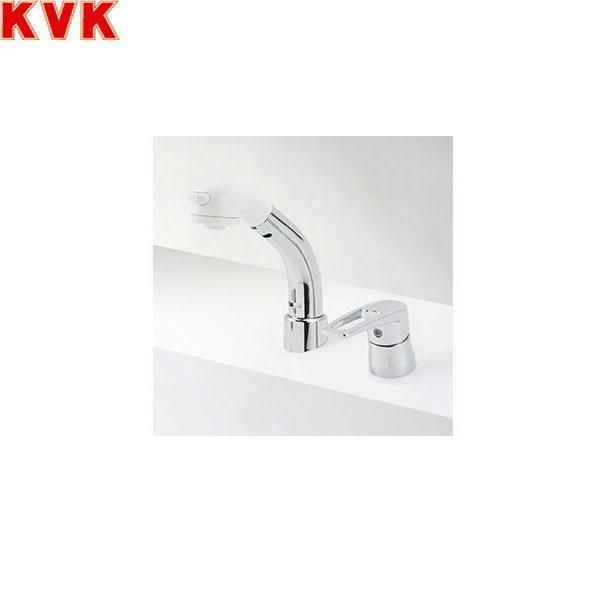 [KM8029TCN]KVK洗面用シングルレバー式洗髪シャワー混合水栓[一般地仕様][18°傾斜取付タイプ][ヒートン付]【送料無料】