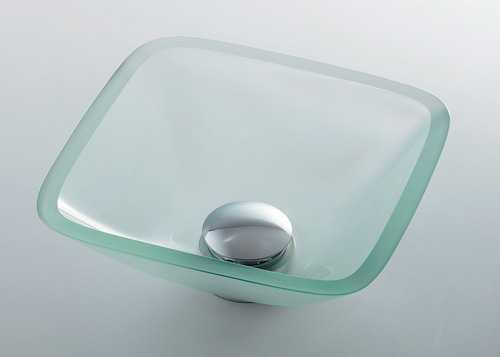 カクダイ[KAKUDAI]ガラス角型手洗器493-029-C(クリア)