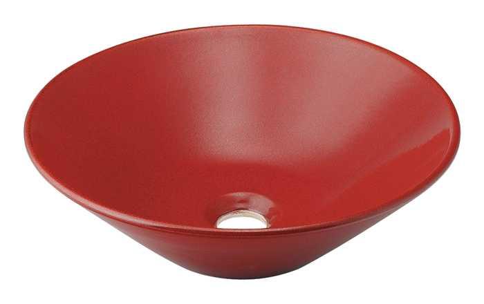カクダイ[KAKUDAI]丸型手洗器493-037-R(鉄赤)