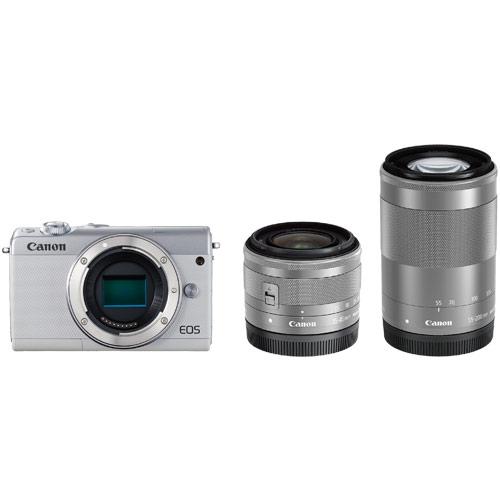 【納期約1~2週間】【お一人様1台限り】Canon キヤノン EOSM100WH-WZK ミラーレス一眼カメラ 「EOS M100」 ダブルズームキット ホワイト EOSM100WZKWH