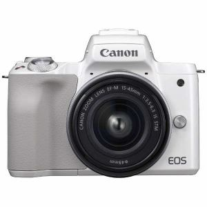 【納期約1~2週間】【キ対象】【お一人様1台限り】canon キヤノン EOSKISSM-L1545KWH ミラーレス一眼カメラ EOS Kiss M EF-M15-45 IS STM レンズキット (ホワイト) EOSKISSM L1545KWH