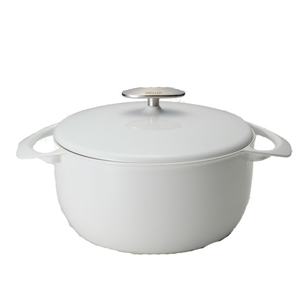 UNILLOY (Unilog) cast iron enameled pot ever, the first light of casseroles in the thickness 2 mm 22 cm Navy/white
