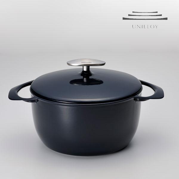 UNILLOY(유니로이) 주물 법랑냄비 사상, 첫 가벼움 두께 2 mm의 카세롤 20 cm네이비/화이트/매트 블랙