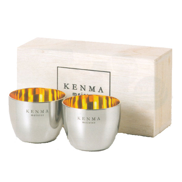 KENMA meister polishing Meister stainless sake Cup 100 ml crates into two pairs