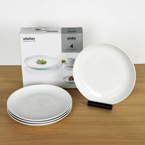 SALE 安い 受注生産品 北欧の白いシンプルなテーブルウェア OUTLET aida atelier ランチプレート 4個セット ボックス入り アイーダ 22cm アトリエ