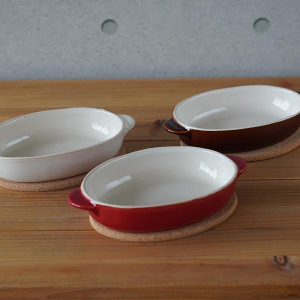 超目玉 毎日がバーゲンセール ナチュラルで優しい風合いのほっくりシリーズ KINTO キントー ほっくりオーバルグラタン皿 全3色 赤 白 茶