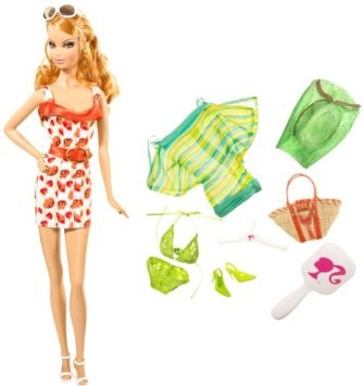 Barbie Year 2008 Beach Party Series 11 Inch Doll N4903 SUMMER with Purple Sunglasses and Hairbrush Mattel