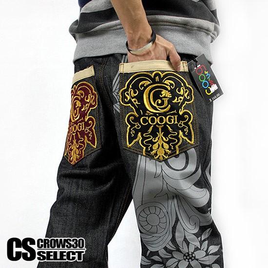 デニムパンツ メンズ ジーンズ インポート ワイドパンツ バギーパンツ 刺繍 ペイント 加工 大きいサイズ ビッグサイズ B系