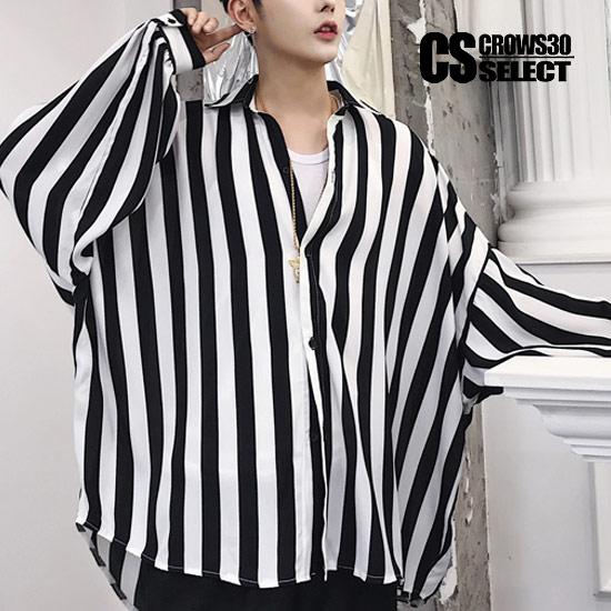 シャツ メンズ モード系 ストライプシャツ 縦縞 ビッグシャツ 大きいサイズ 長袖 シャツ ブラック 黒 ホワイト 白 インポート 送料無料 春 新作 30代 40代 個性的 V系 ビジュアル系 ホスト スーツ ホストスーツ 衣装 ストリート系 モード系 韓国